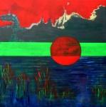 rising sun_acryl linnen_ 80x80 cm
