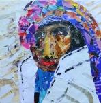portret E - papier op doek - 300x30 cm