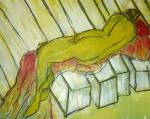 naakt 7 - acryl op appier - 60x50 cm